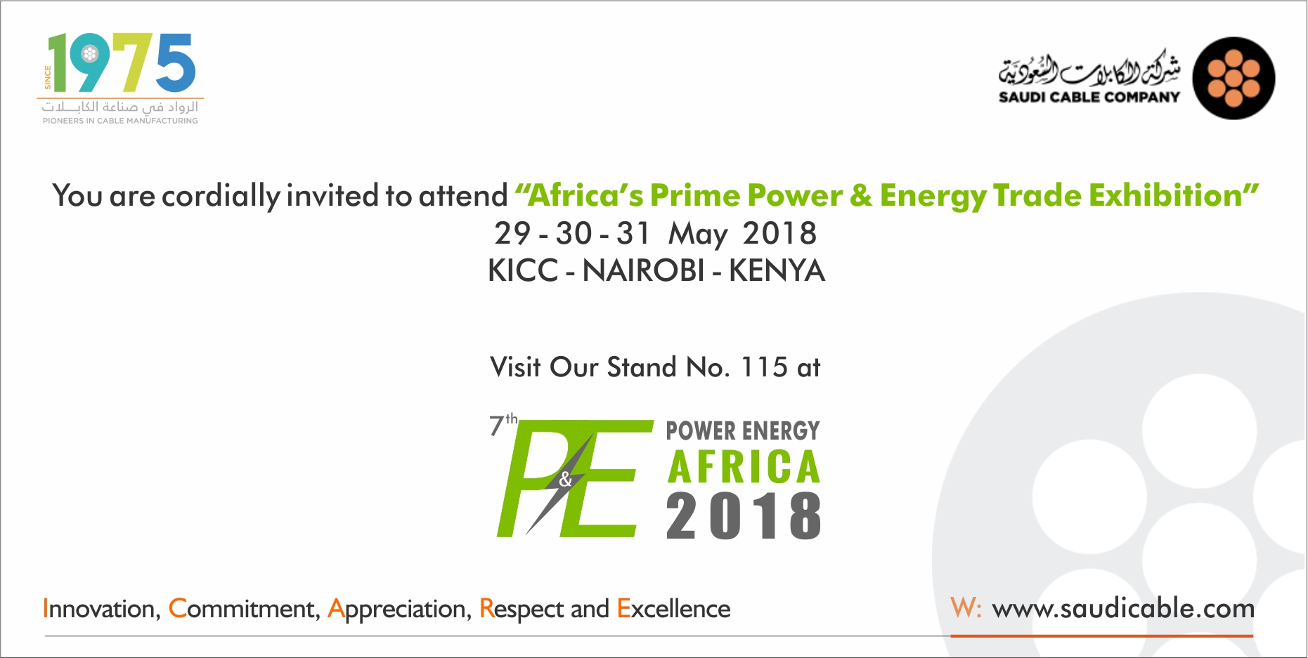 PLEASE ACCEPT OUR CORDIAL INVITATION TO P&E AFRICA 2018